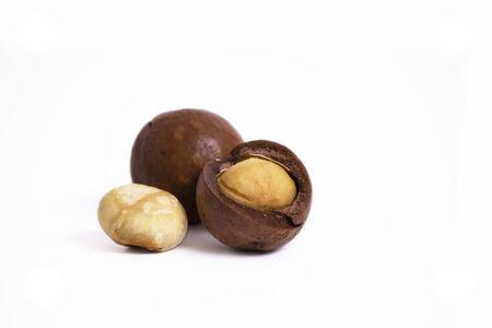 Shelled macadam nut closeup on a white background.