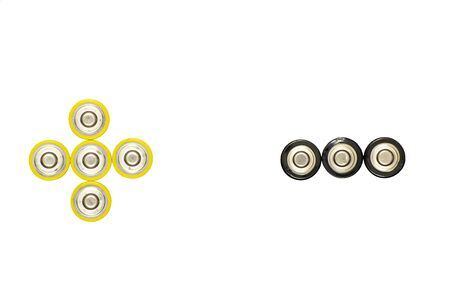 AA batteries top view. On white background. In the form of plus and minus.