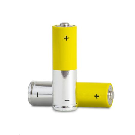 Two AA batteries on a white background. Isolated Stockfoto