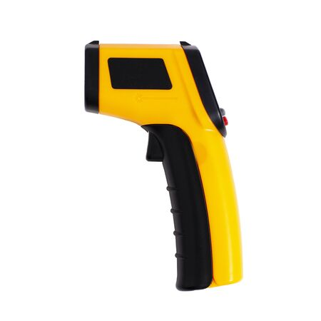 infrared laser thermometer isolated on white. Closeup