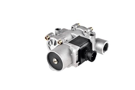 ABS modulator of the brake system with a magnetic valve for a truck, auto part, car brake system part white background close-up