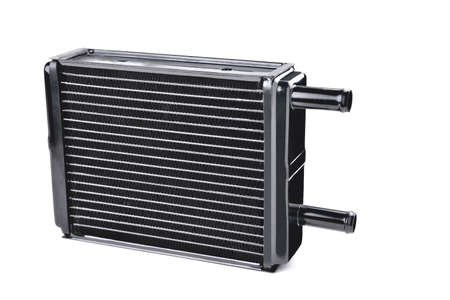 car heating and air conditioning system radiator, car stove radiator, white background close-up, selective focus Stock Photo
