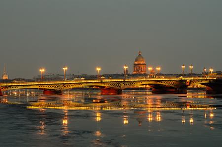 Blagoveshchensky bridge in St. Petersburg.Tonight is the backlight on the bridge. Stock Photo