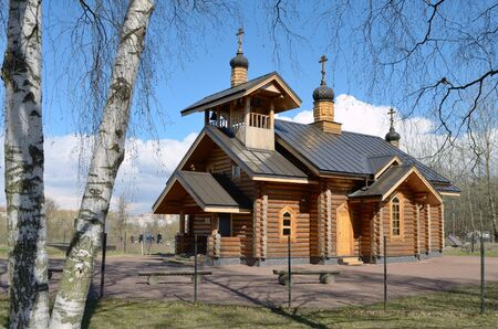 house of god: The temple is located in Polezhaevskaya Park on a Cape formed by Ligovsky terrace and the edge of the valley escarpment of Dudergofka. Stock Photo