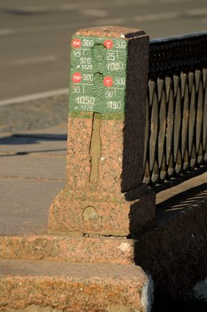 electric circuit: Granite fence on the University embankment in St. Petersburg.The post drawn electric circuit