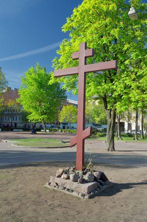 memorial cross: Russia.The ciudad de St. Petersburg.Voskresenskiy square.In el lugar de la destruida Iglesia de la Resurrección en la plaza en cruz conmemorativa Kulibina se hallan en San Petersburgo