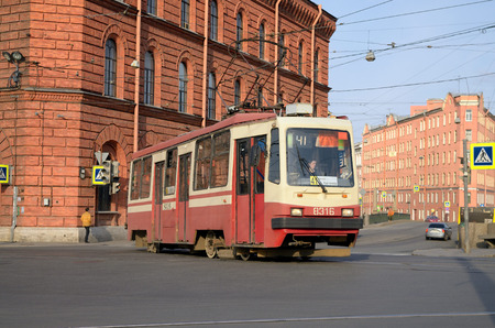 trams: Russia.Saint-Petersburg.24.04.2016.The streets of the city to ride the trams as public transport. Editorial