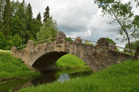 long  ago: Russia.Pavlovsk Park.A beautiful natural place.There is an old bridge built long ago.
