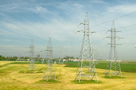 electric current: Electric poles with high voltage.By-wire is an electric current of high voltage.