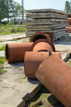 blowtorch: Fragments of building material.Iron pipes,concrete slabs and more.