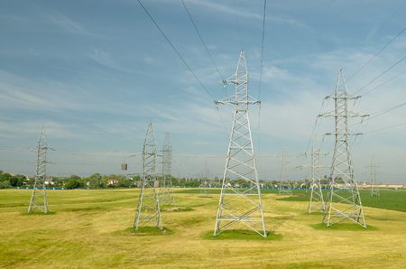 volts: Electric poles with high voltage.By-wire is an electric current of high voltage.