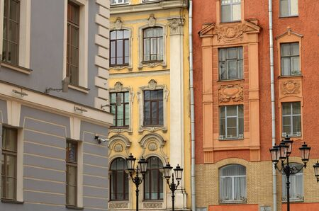 Russia.Saint-Petersburg.The citys historical district.The facade walls of old houses.