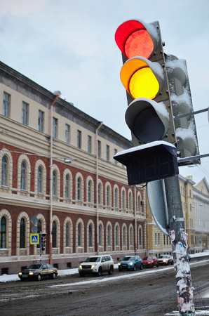 Traffic lights are at the crossroads.They regulate the movement of public transport to avoid accidents.