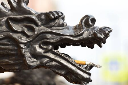 cheery: Cheery dragon decided to smoke a cigarette .