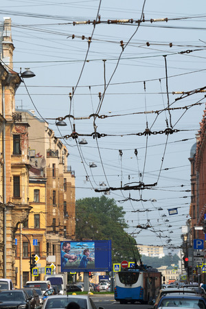 throughout: electric wires for trams strung throughout the city.