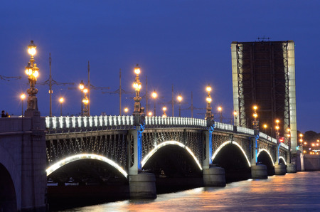 freely: Russia.Saint-Petersburg.Navigation time.At night the bridges are raised.Ships can freely sail Stock Photo