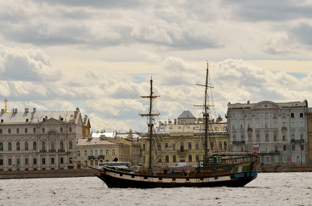 frigate: 13.08.2016.Russia.Saint-Petersburg.Water landscape in the city overlooking the frigate.