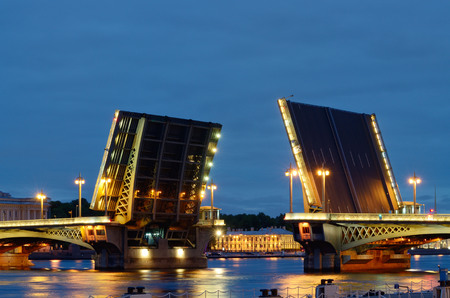 The bridge, which is diluted at night during navigation. Stock Photo