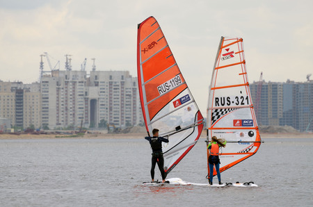 29.05.2016.Russia.Saint-Petersburg.windsurfing competitions are held on the waves of the sea.