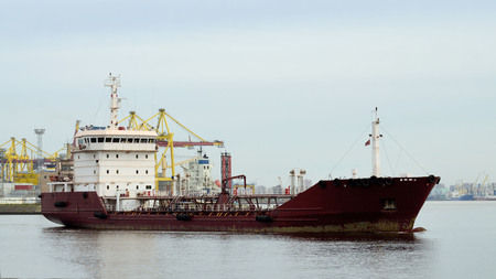 The tanker was loaded at the port.Now he goes to sea. Stock Photo