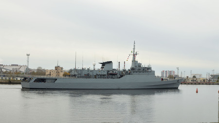 Warship goes to sea on a mission.