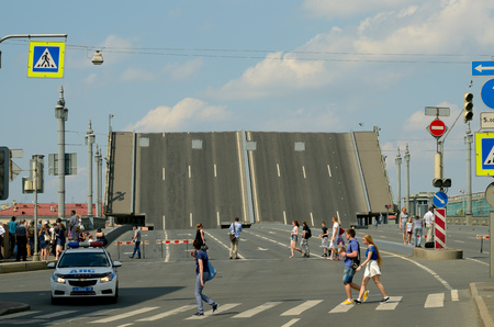 diluted: 03.07.2016.Russia.Saint-Petersburg.The bridge,which is diluted by the day due to technical prevention. Editorial