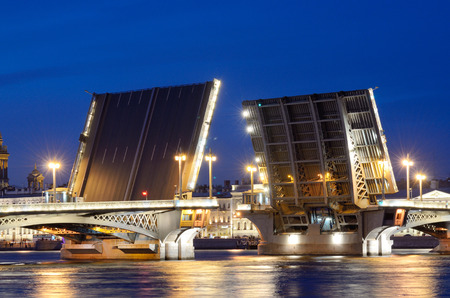 In summer, during navigation ,the citys open bridges for the passage of vessels.
