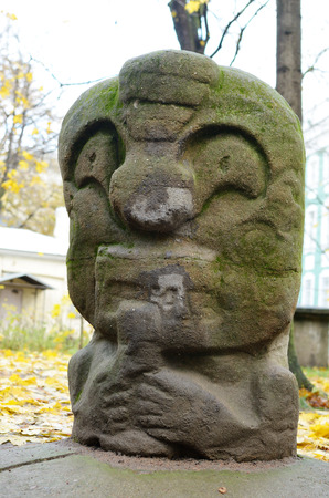 idols: Stone idol created by Mexican Indians. Stock Photo