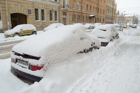 13.11.2016.Russia.Saint-Petersburg.In the city,in November,fell the snow more than the winter.