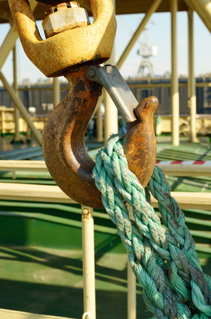 hook up: The powerful metal hook attaching heavy loads and lift them up.