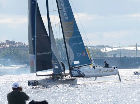 bateau de course: 02.09.2016.Russia.Saint-Petersburg.Athletes from different countries took part in competitions on the yachts. Éditoriale