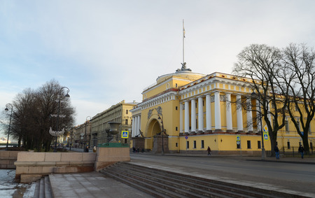headquarters: 01.01.2017.Russia.Saint-Petersburg.The yellow building is an old architectural structure.Is the headquarters of the Admiralty.