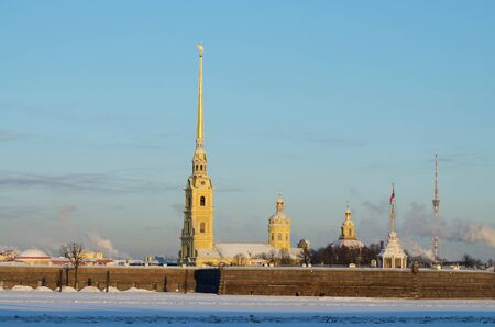 View of the Peter and Paul fortress.It is a historical monument of architecture. Editorial