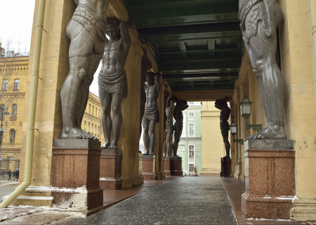 atlantes: 12.01.2017.Russia.Saint-Petersburg.The main entrance to the New Hermitage with sculptures of Atlantes.