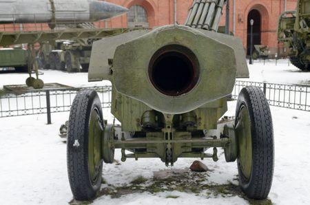 gunpowder: An artillery gun is striking in its strength and power,like weapons.