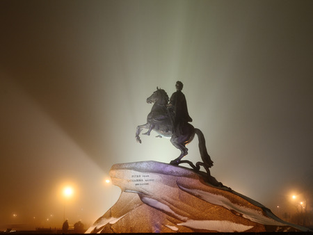 11.12.2013.Russia.Saint-Petersburg.A monument to Tsar Peter the great night illuminated by floodlight.