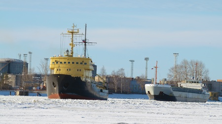 freeing: The powerful icebreaker breaks the ice ,freeing the path for ships.