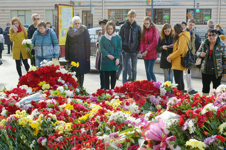 05.04.2017.Russia.Saint - Petersburg.Metro station Institute of Technology.In the subway there was a terrorist attack.A terrorist blew up a car in the subway.People bring flowers in memory of dead people. Editorial