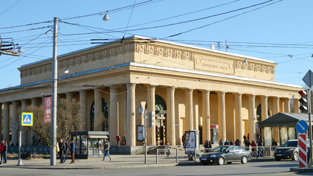 30.03.2017.Russia.Saint - Petersburg.The entrance to the subway.Station,, Kirovskiy Zavod,,.Building in style of classicism.