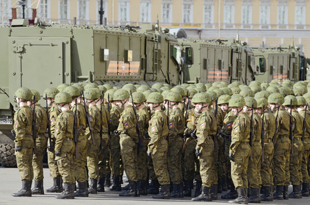 rehearsal: 07.05.2017.Russia.Saint-Petersburg.Dress rehearsal of the Armed Forces before the May 9 Parade. Editorial