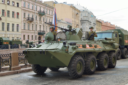 participate: 07.05.2017.Russia.Saint-Petersburg.Modern military equipment is ready to participate in the parade devoted to the Victory Day.