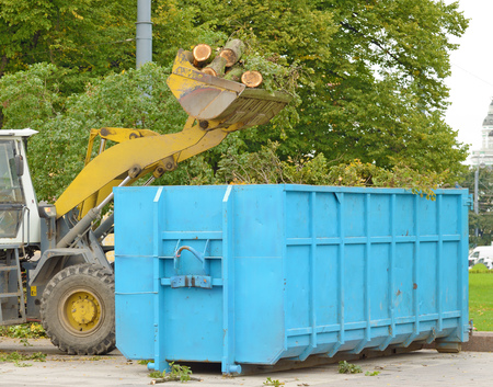 On the streets, cut off dry branches on trees.The tractor dumps them in the trash. Reklamní fotografie
