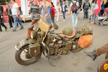 13.08.2016.Russia.Saint-Petersburg.An American motorcycle .Used by soldiers during the second world war.
