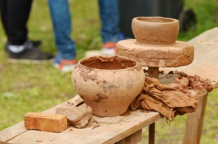 Artisanal pottery.made utensils for food from clay. Stock Photo