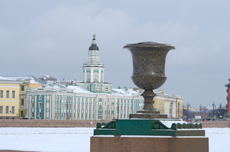 City skyline in winter.Historic architecture adorns the city.