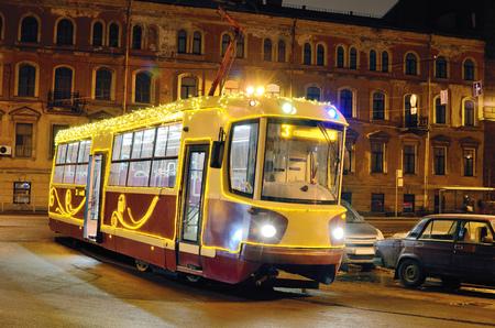 The tram,as public transport is intended for transportation of people. Reklamní fotografie