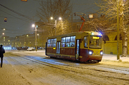 Saint-Petersburg.Russia.10.01.2016.The tram,as public transport is intended for transportation of people.Night had already fallen.And this is the last ride of the tram.