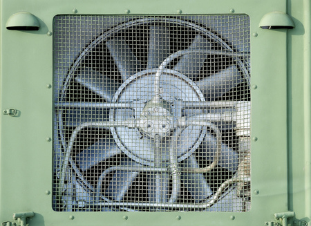 Metal fan for cooling.Protects against heating of the mechanism. Stock Photo