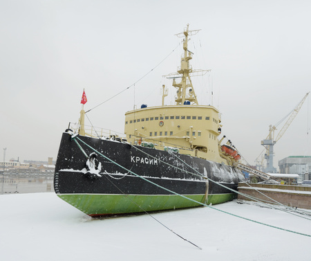 Saint-Petersburg.Russia.02.09.2018.icebreaker Krasin on the coast of the Neva.Now this ship is a Museum.The ship participated in Arctic ekspeditsiyah.