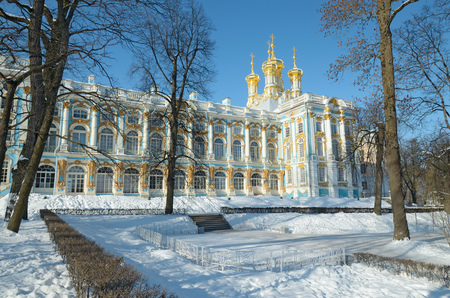 Pushkin.Russia.02.27.2018.Catherine Park.The Grand Catherine Palace is the residence of the Empress.It is a historical monument.It is now a Museum. Editorial